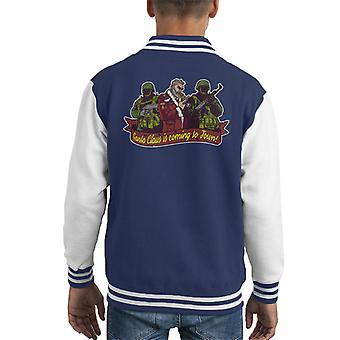 You Better Watch Out Military Santa Claus Christmas Kid's Varsity Jacket