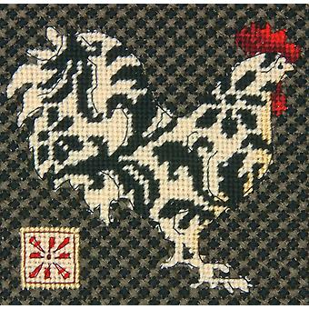 Black & White Rooster Mini Needlepoint Kit 5