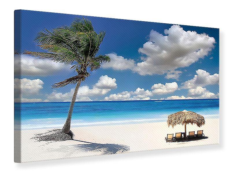 Toile imprimé plage sur le lagon bleu