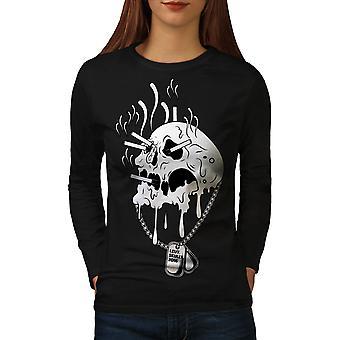 Melt Skeleton Death Women BlackLong Sleeve T-shirt | Wellcoda