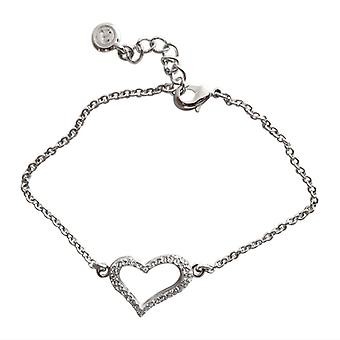 Sterling Silver Bracelet Swarovski Heart As0002