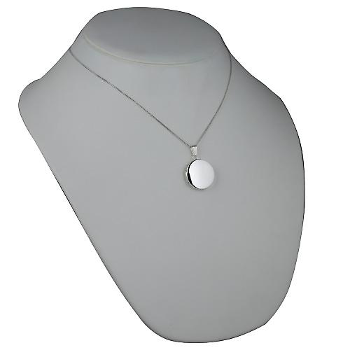 Silver 23mm plain flat round Locket with a curb Chain 18 inches