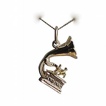 9ct Gold 17x11mm dance music gramaphone Charm with a curb Chain 20 inches