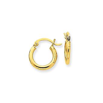 14k Yellow Gold Lightweight Tube Round Hoop Earrings - 13mm