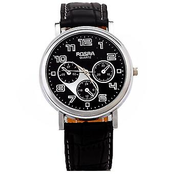 Mens Black Rosra Watch With PU Leather Strap BGWAROSBLA1