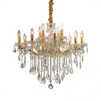 Ideal Lux Florian Gold Metal And Clear Crystal 12 Light Chandelier Light