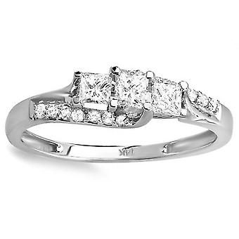 1/2ct Princess Cut Diamond 3 Stone Engagement Ring 10K White Gold