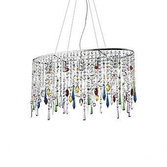 Ideal Lux Modern Rain Clear And Coloured Crystal Pendant, Large