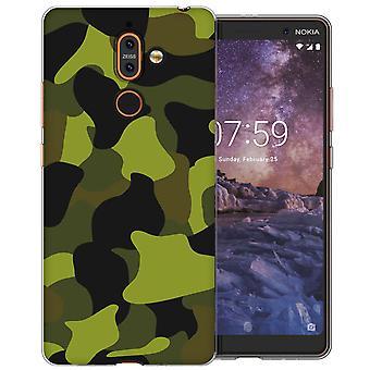 Nokia 7 Plus Green Camouflage TPU Gel Fall