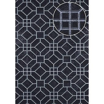 Graphic wallpaper ATLAS here-5134-2 non-woven wallpaper imprinted with geometric forms shimmering black black grey silver 7,035 m2