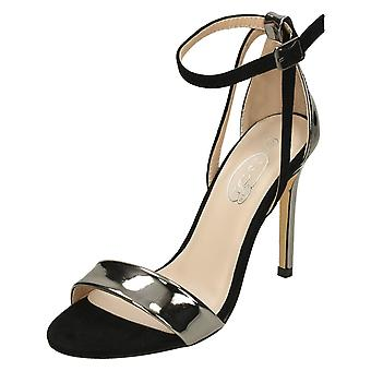Ladies Spot On High Heel Ankle Strap Sandals F10827 - Pewter/Black Microfibre - UK Size 8 - EU Size 41 - US Size 10