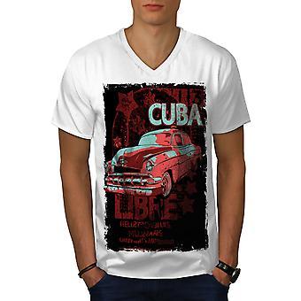 Cuba Libre Revolution Men WhiteV-Neck T-shirt | Wellcoda