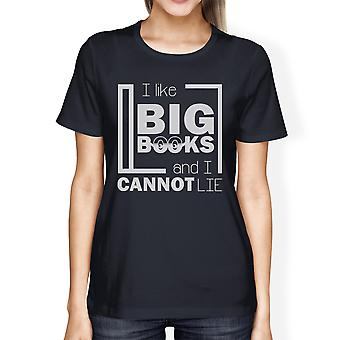 I Like Big Books Womens Navy Short Sleeve Crew Neck T-Shirt For Her