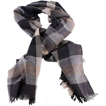 Bassin and Brown Sycamore Check Wool Scarf - Black/Grey/Beige