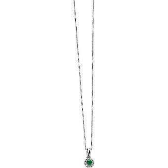 Elements Gold Skylight 9ct White Gold Emerald and Diamond Round Pendant - Green/White Gold