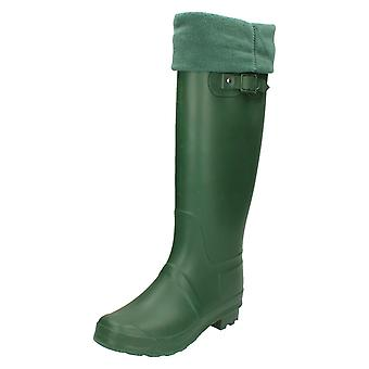 Womens Spot On Fleece Lined Wellington Boots