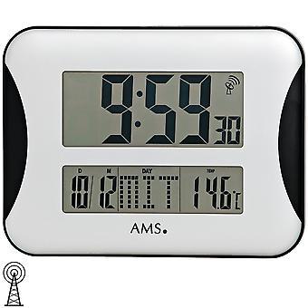 Wand klok muur klok radio digitale display van de tijd datum dag van de week en temperatuur