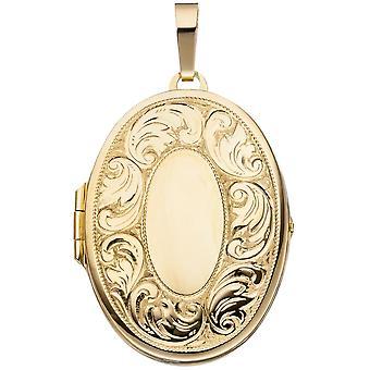 Anheng medaljong ovale 925 sterling sølv gull belagt åpne 2 bilder