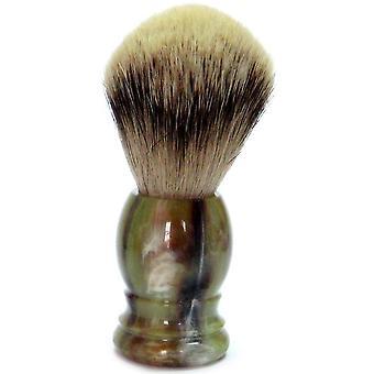 Oro pennello da barba con punta d'argento Badger, maniglia di plastica