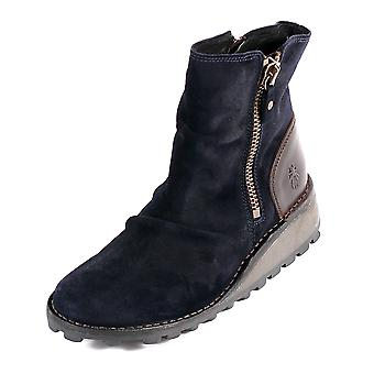 Fly London Women's Mong Oil Suede / Rug Leather Zip Ankle Boot Navy / Dark Brown