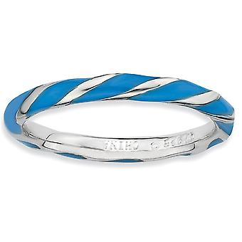 Sterling Silver Polished Rhodium-plated Twisted Blue Enameled 2.4 x 2.0mm Stackable Ring - Ring Size: 5 to 10
