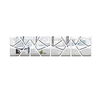 TRIXES 4PC Self Adhesive Mirror Wall Decal Sticker Set - 3D effect Cracked Pattern – Ideal Home Decoration - Silver