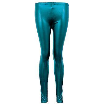 Ladies Metallic Shiny Wet Look PVC Frauen Disco Pants Sexy Dance Leggings