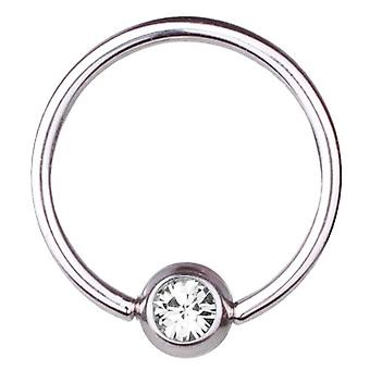 BCR Titan Piercing Ball Closure Ring 1,6 mm, SWAROVSKI Elemente weiß | 8-16