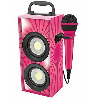 Lexibook BTP155PKZ iParty Mini Bluetooth Karaoke Tower with Microphone - Pink