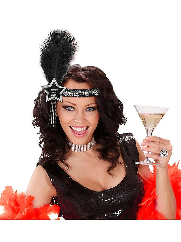 Black-Silver Happy New Year Glitter Star Sequin Headband