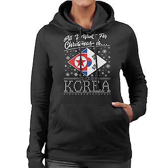 All I Want For Christmas Is Korea vrouwen Hooded Sweatshirt