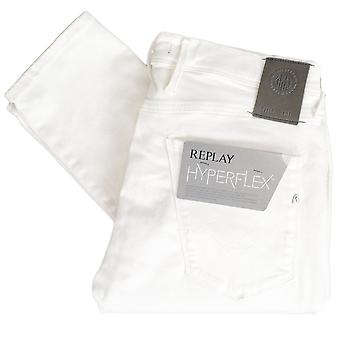 Replay Anbass Hyperflex Stretch White Denim Slim Jeans