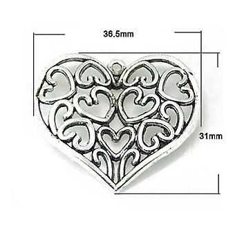 Paket 4 x Antik Silber tibetischen 37mm Herz Charm-Anhänger ZX14330