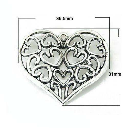Packet 4 x Antique Silver Tibetan 37mm Heart Charm/Pendant ZX14330