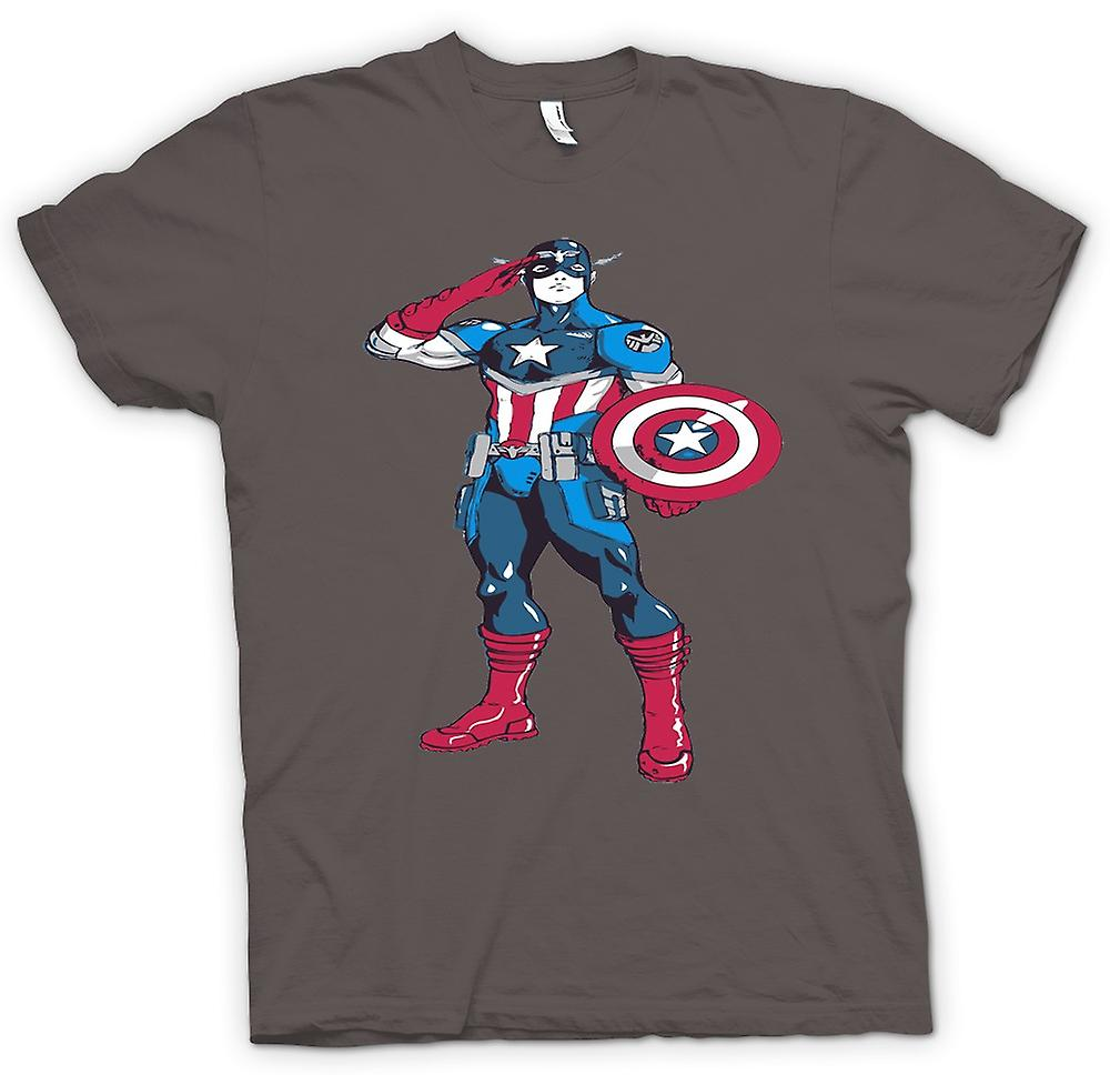 Womens T-shirt - Captain America superhjälte - skiss