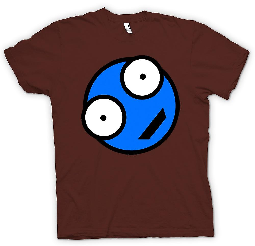 Heren T-shirt - blauw Smiley Face - grappig