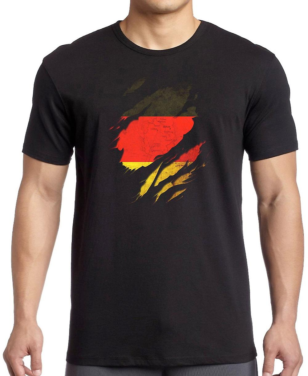 German Grunge Flag Ripped Effect Kids T Shirt
