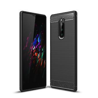 Sony Xperia 1 Texture de fibre de carbone shell-noir