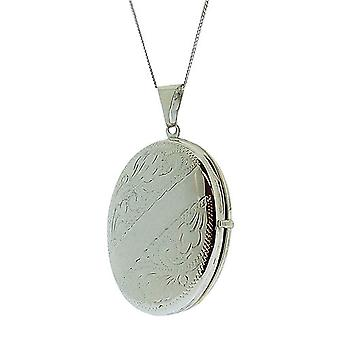 TOC Sterling Silver 9gr 4 Photograph Oval Engraved Locket Necklace 18
