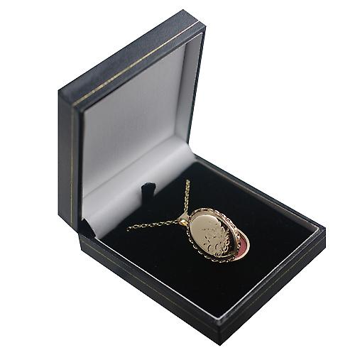 9ct Gold 29x22mm half hand engraved flowers oval twisted wire edge Locket with a belcher chain
