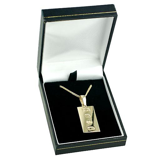 9ct Gold 30x15mm solid display hallmark Ingot half an ounce Pendant on a bail with a curb Chain 18 inches