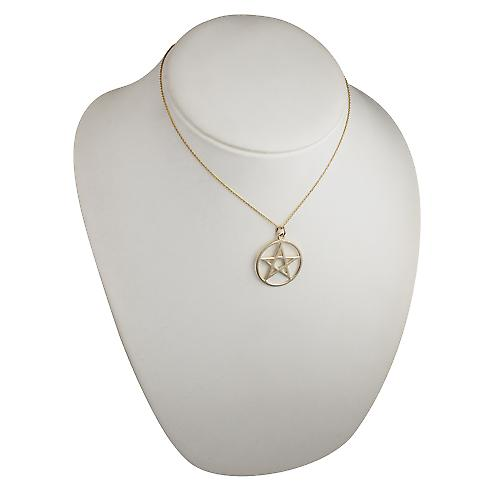 9ct Gold 30mm plain Pentangle in circle Pendant with a cable link chain