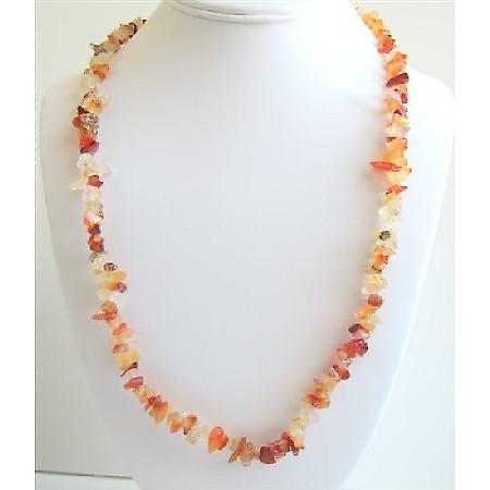 Carnelian Stone Nugget Long Necklace 34 Inches Long Nugget Necklace