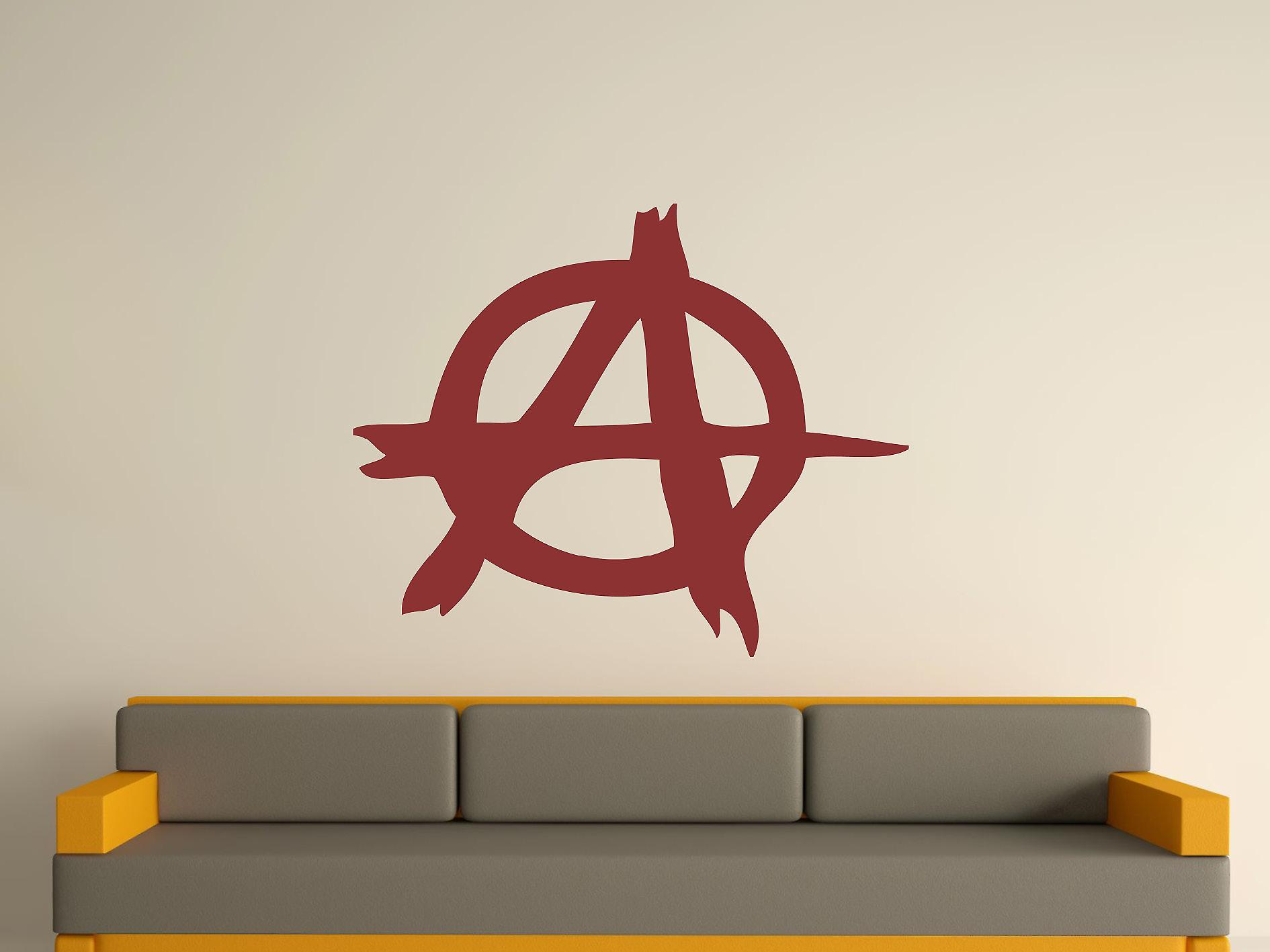 Anarchy Symbol Wall Art Sticker - Burgundy