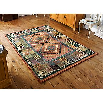Gabbeh 51/001 C A blend of green, turquoise, rust and brown Rectangle Rugs Traditional Rugs