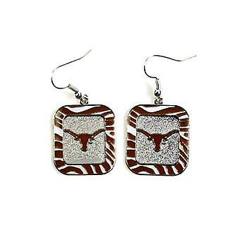 Texas Longhorns NCAA Zebra Style Dangle Earrings