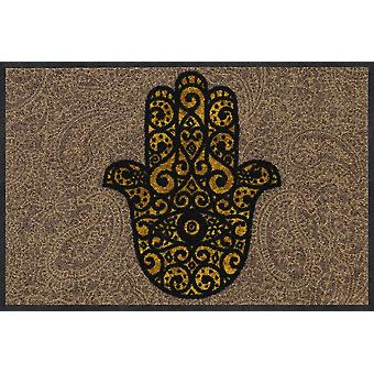 Salon lion doormat of Fatima's hand gold 50 x 75 cm washable dirt mat
