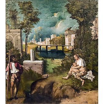 Der Tempest, Giorgione, 50x45cm