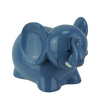 Enchanting Smiling Blue Elephant Childrens Coin Bank