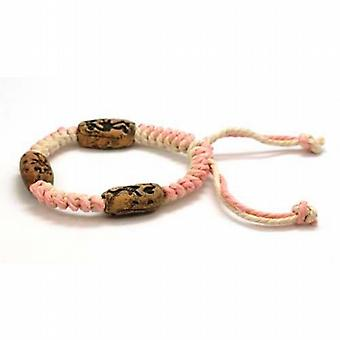 The Olivia Collection Tribal Pink & Cream Cotton  Wooden Bead Bracelet
